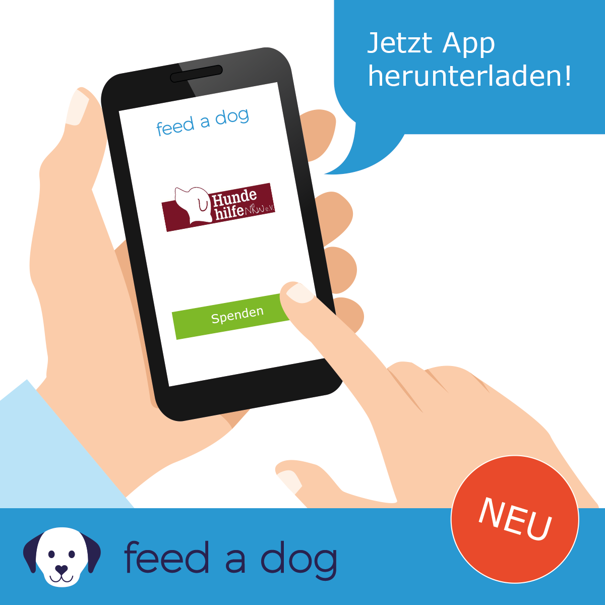 feed a dog HundeHilfeNRW Smartphone gross